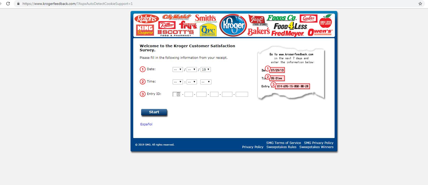 Survey Site: www.KrogerFeedback.com