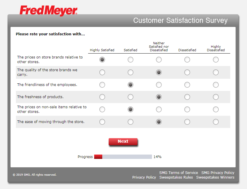 Satisfaction on particular items - www.krogerfeedback.com