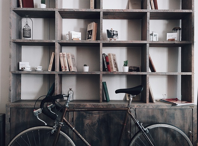 bicycle, shelves, shelf