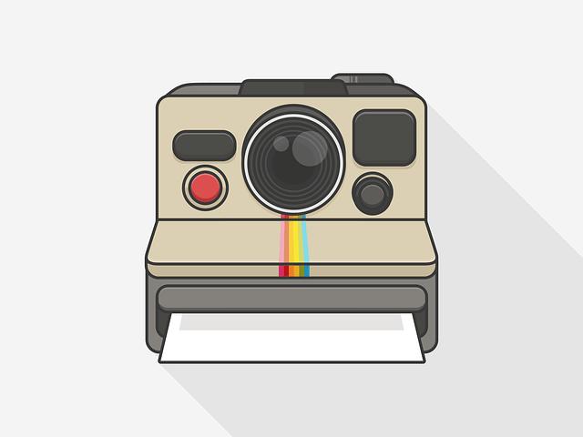polaroid, camera, room