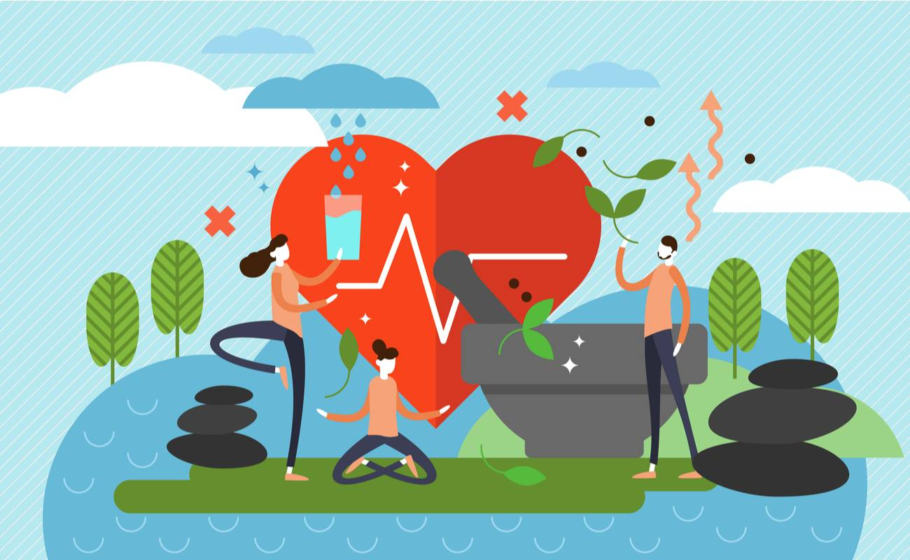 Illustration of 3 people filling up a glass of water, meditating, and collecting herbs with a big heart in the middle.