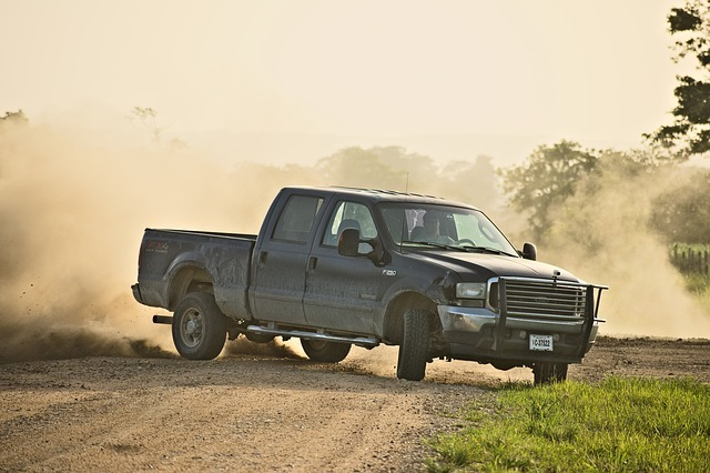pickup truck, drifting, power