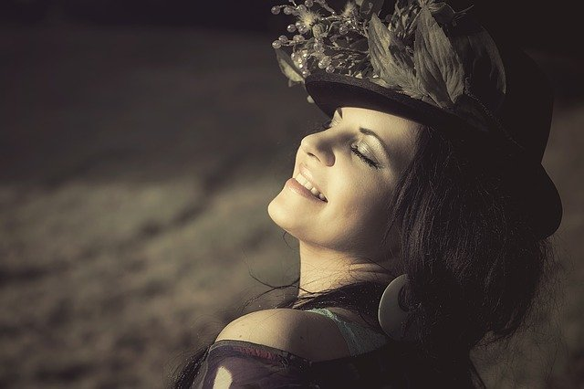 beauty, woman, flowered hat
